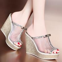 2014 summer rhinestone gauze platform wedges platform slippers open toe shoe high-heeled sandals