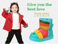 2014 Free Shipping Kids Children caterpillar boots snow boots warm snow boots waterproof fur XD060
