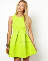 HIGH QUALITY! Lemon yellow high waist women's dress girl fashion dress XS-XXL, 141515983