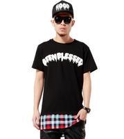 Hot 2014 Men's Patchwork  T shirt Rish 777 Print and Red Lattice  Short Sleeve Tee Tops T Shirt Drop T Shirt