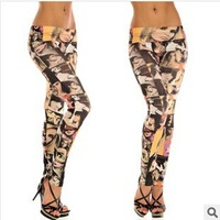 Spring autumn 2014 New Fashion Pants Women 's milk silk flower Jeans leggings For Women Print color head leggings plus size