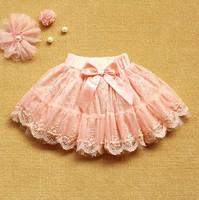 2014 New Summer Children Girls Lovely Tutu Skirts Kids Girl Bowknot Lace Flower Skirt Girl Princess Pearl Pleated skirt