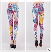 primavera e outono 2014 moda de nova calças mulheres's leite flor jeans calças para mulheres azul flores florescem leggings de impressão plus size(China (Mainland))