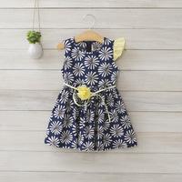 2014 New summer,girls floral dress,children princess dress,cotton,sashes,flower,2 colors,2-8 yrs,5 pcs / lot,wholesale,1412