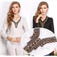 Free Shipping 2014 New Women Solid Color Beaded V-Neck Long-sleeve Chiffon Blouse Blusas Femininas