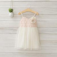 2014 New summer,girls floral slip dress,children evening dress,lace embroidery,flower,bow,2-8 yrs,5 pcs / lot,wholesale,1411