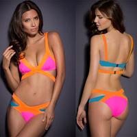 New Arrival 2014 Sexy Women Bandage Bra Padded Bikini Strap Halter Swimwear Brand HL Swimsuit size XS-XL