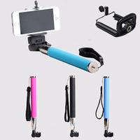 DHL 30sets (30pcs monopod +30pcs clip holder)Selfie Rotary Extendable Handheld Camera Tripod Mobile phone Monopod Digital Camera