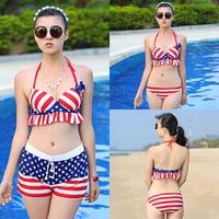 New Sexy 2014 women bikini american flag 3pcs swimsuit swimwears push up beachwear