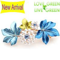 2014 new arrrival Free Shipping women wedding bridal painting flower rhinestones pearl Hair jewelry Headress hairpin 2001