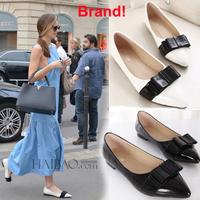 Brand New 2014 Designer Hot Black White Size 4 5 6 7 8 with Bowtie Women Flats Fashion Flat Shoes Ladies Heel Platform
