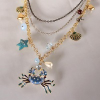 Fashion bj crab multi-layer necklace 130630