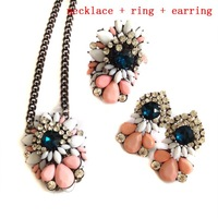 New arrive 2014 women fashion jewelry set shourouk earring matching necklace ring  for women jewelry set wholesale