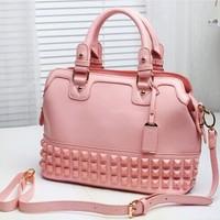 Bright color portable women's handbag ice cream shell big bag rivet shoulder bag candy macaron messenger bag