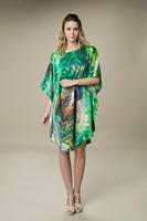 2014 New Summer Round Neck Bat Sleeve Silk Pajamas Nightgown Comfortable Tracksuit Free Size YBP001 - Free Shipping
