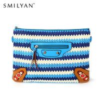 Smilyan new 2014 bohemia holiday style tassel contrast color envelope bag  shoulder bag multifunctional bag women messenger bags