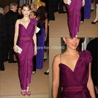 Attractive Natalie Portman Special Asymmetrical Straps Gathered Skirt Elegant Formal Purple Long Celebrity Evening Dresses