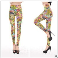 Spring autumn 2014 New Fashion Pants Women 's black milk  flower Jeans leggings For Women Yellow cashew print leggings plus size