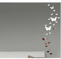 Retail One Set Self-adhesive Mirror Style Stickers 3D Butterfly Wall Sticker For Nice Home Decoration In Living Room Bathroom