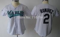 Wholesale womens Baseball Florida Marlins #2 Hanley Ramirez White stripe Jerseys China Cheap Best Quality Sewn Logo Free Ship