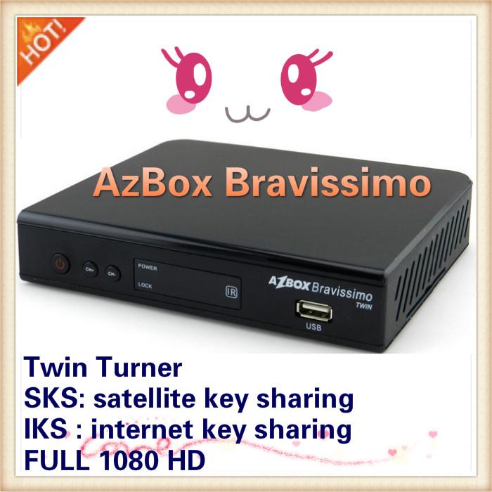 Free shipping ,Azbox Bravissimo azbox ultra hd satellite receiver twin tuner sks free(China (Mainland))
