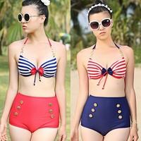 High Quality High Waist Bikini Striped Underwire push up swimwear women