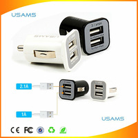 High Quality USAMS Micro Dual 2 Port USB Car Charger For iPhone iPad iPod 3.1A Mini Car Charger Adapter / Cigar Socket