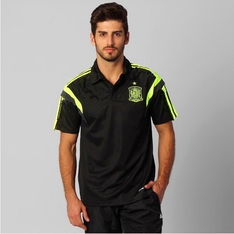 New products to the black/Thai version 2014 Spain training suit/lapel perfect football/soccer jersey shirt with short sleeves(China (Mainland))