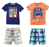 Hot 2014 new arrival children's clothing sets boy car flag pattern piece short-sleeved plaid pants + Baby Kids Set Free Shipping