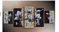 100% Hand painted blooming Flower white cane Abstract landscape Wall home Decor Oil Painting on canvas 5pcs/set mixorde Framed