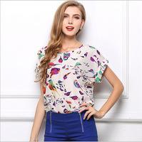 2014 women Loose Big yards round neck Tops short sleeve printed chiffon blouses chiffon vest T-shirts 19 colors S-XXL