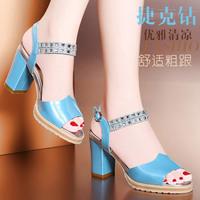 2014 gentlewomen thick heel high-heeled shoes open toe shoe sweet rhinestone women's shoes sandals