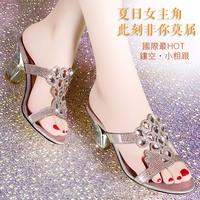 Fashion slippers gladiator 2014 rhinestone women's shoes high-heeled sandals open toe shoe