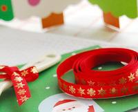 2Meter Christmas Red bottom gilding elk various snowflake 1CM wide ribbon / decoration gift packing ribbon