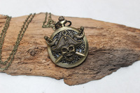 Beautiful Caribbean Skull Pocket Watch Steampunk Antique Victorian Style pocket watch Necklace
