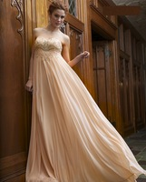 Elegant Long Beaded Sweetheart Empire Waist Chiffon Prom Dresses Party Evening Gowns for Pregnant Women LK126