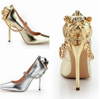 2014 New Brand Women Sexy Pointed Toe High Heels Gold/Sliver Gladiator Women Pumps Shoes Heel with Tiger Head Design Plus Size