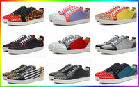 Toe Spike Rivets Fashion Leather Low Red Bottom Shoes For Men Louis Junior Spikes Casual Sneakers Rantulow Orlato Men's Flat