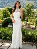 Fashion New Sheath Casual Lace Bridal Wedding Dresses High Neck Floor Length No Train LK132