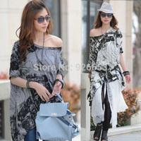 2014 Fashion Women Half Sleeve Batwing Sleeve Slash neck Sexy Irregular Blouse Shirts Black/Grey Free Size
