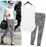 Europe America Style Casual Women Twinset Summer Print Bothemian Pattern High Street Cozy Ladies Tops Harem Pencil Pants Set