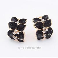 Women White / Black Flower Ear Studs Gardenia Crystal Rhinestone Fashion Earrings Ear Hoop Buckle 25JMHM027