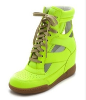 Drop Shipping 2014 New Fashion High-Top  Women Shoes Candy Color Sneakers Ankle Wedges Sneaker
