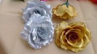 10 cm Artificial flower Silk Rose Heads Wedding Christmas Party gold silver  Color Diy Jewlery Brooch Headwear