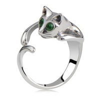 Free Shipping White Gold Plated Austrian Crystal Cat Rings,Fashion Rhinestone Rings,Wholesale Fashion Jewelry,MG2042