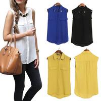 2014 New Style European Women's  Lapel Collar Shirt Mock Pockets Sleeveless Asymmetrical Shirt Four Colors Blouse 25JE3061