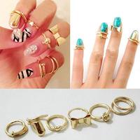 7Pcs Vogue Gold Skull Sweetheart Bowknot Nail Band Mid-Finger Ring Set Fashion Design 20JMHM003