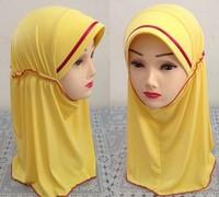 Solid Color Soft Children Muslim Hijab Hat  Cap Headcloth Children Scarf Cap Accessory