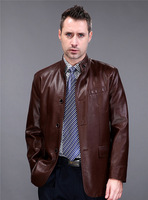 New 2014 Spring Autumn Casual Leather Men Coat Excellent Quality Jaquetas De Couro Masc Size M,L,XL,2XL,3XL