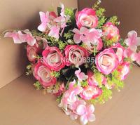 One Bunch Rose & Hydrangea Flower 37cm Length 24 stems per Piece Artificial Silk Flowers for Wedding Christmas Party Flower